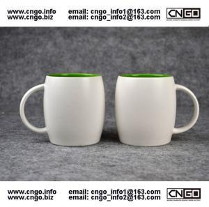 Wholesale Beer barrel inside green ceramic beer mug custom advertising LOGO for your design from china suppliers