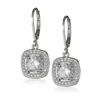 China Customized 925 Sterling Silver Jewelry Earrings Round Cubic Zirconia Hoop Earrings on sale