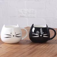 Wholesale Food grade white black cat face ceramic cat coffee mug cute white/black cat ceramic mug coffee with spoon and lid from china suppliers