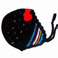 China Kid's knitting hat, made of acrylic yarn, snow pattern jacquard style, fashionable earmuff cap on sale
