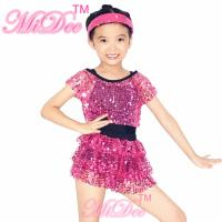 Sequin Jazz Dance Clothes Sleeveless With Tank Top Tiers Skirt Black Leotard