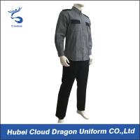 Grey Black Security Guard Uniform For Hospital / Airport / Hotel Guards