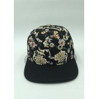 Unisex Sunshade Floral Snapback Hats Black Printed Flat Brim For Hip-Hop