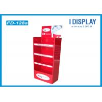 Buy cheap Folding Floor Acrylic Display Stands , Red Custom Corrugated Floor Displays from Wholesalers