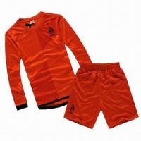 China Custom Long Sleeves Soccer Jersey, Made of Double Jersey Material on sale