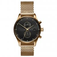 China Brand logo sun grain dial gold plated stainless steel case custom watch face on sale