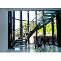 Wholesale Interior glass tread curved staircase with stainless steel/ carbon steel stringer from china suppliers