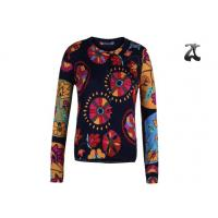 Wholesale Open Cardigan Womens Crew Neck Sweaters Button Down With Flower Printing from china suppliers
