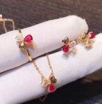 Red Real Gemstone Jewelry Ruby Diamond Wedding Set In 18K Rose Gold