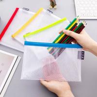 Wholesale Clear Mesh Grid Reusable Ziplock Bags / Zipper File Bags For Office Supplies from china suppliers