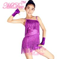 Spandex Blue Red Grape Latin Dance Recital Costumes With Fingerless Gloves