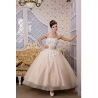 Wholesale Empire Champagne Strapless Short Tulle Wedding Bridal Gown With Lace Online from china suppliers
