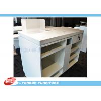 China White OEM MDF Wooden Shop Cash Counter Paint Finished , Retail Desk Counter on sale