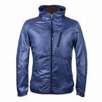 Wholesale Men's jacket, spring fashionable with fixed hood, made of soft high density check polyester fabric from china suppliers