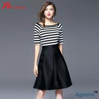 Wholesale Short Sleeve Office Work Clothes Knee Length Striped Stitching Dresses Type from china suppliers