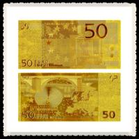 Wholesale golden EURO 50 24 Kt gold banknote,gold money value collectible from china suppliers