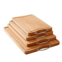 Wholesale Beech block bamboo chopping cutting board with stainless steel handle from china suppliers
