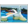 Kids Small Cartoon Swan Fiberglass Water Pool Slides For Aqua Park
