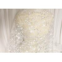 White Floral Embroidery Corded Lace Fabric With Beads And Sequins For Wedding Dress