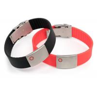Wholesale Size Adjustable Silicone Medical ID Bracelets Waterproof With SS Plate Tag from china suppliers