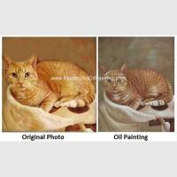 China Cat Portrait Oil Painting Hand - Painted With Texture Turn Your Photo Into A Painting on sale