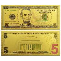 Quality US Gold Banknote 5 Dollars Bill Gold Plated Banknote for sale