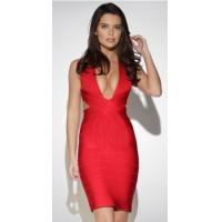 Wholesale Summer Sexy Deep V Neck Bandage Dress Red Color OEM / ODM Available from china suppliers