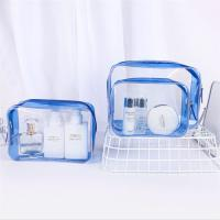 Wholesale Personalized PVC Cosmetic Bag , Blue Clear Plastic Cosmetic Zipper Bags from china suppliers