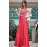 Wholesale Floor Length V-neck Flower Beading Bodice Red Modern Bridesmaids Dresses-30667 from china suppliers