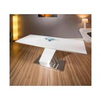 Wholesale White Gloss Extendable Modern Dining Table Furniture Foldable Metal Frame from china suppliers