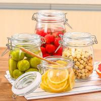Wholesale Custom Airtight Square Glass Storage Bottle Jar With Clip Lids Various Size Available from china suppliers