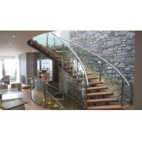 Wholesale Interior modern glass wood tread curved stair / staircase design from china suppliers