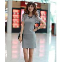 China Gray Women Chiffon Short Sleeve Sheath Dress , Knee Length Girls Casual Clothes on sale