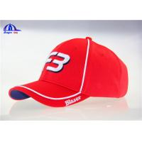 Buy cheap 100% Polymesh 6 Panel Red Custom Baseball Caps With White Piping and 3D Embroidery from Wholesalers