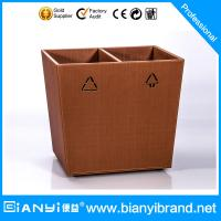 Wholesale Double Layer PU Leather Coated Hotel Room Dustbin/Bathroom Faux leather Waste Bin Ring/Tra from china suppliers
