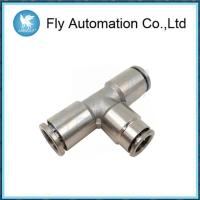 China Three Connection Joint Pneumatic Tube Fittings Silvery Brass Tee Connector on sale