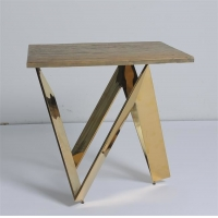 Wholesale New Style Living Room Wood Top Coffee Table With X Shaped Crossed Design Metal/Brass Table Legs from china suppliers