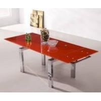 China 6 people chromed steel black extending glass dining table on sale