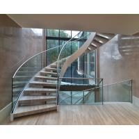 Wholesale Elegant interior wooden curved staircase with 50mm solid oak wooden treads from china suppliers