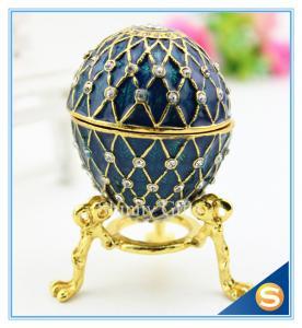 Handmade Enamel metal decorative egg boxes with diamond