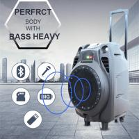 Buy cheap Best selling 80w large bass 10 inch bluetooth portable pc trolley speaker with USB/FM//LED from Wholesalers