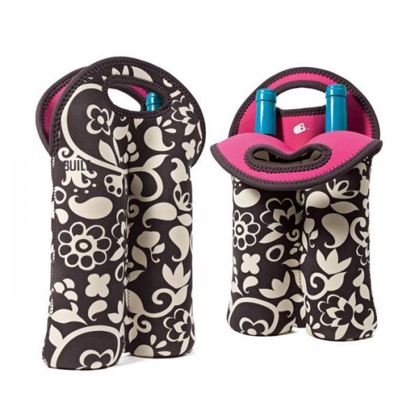 Quality Portable 2 Pack Red Wine Bottle Cooler Sleeve , Neoprene Bulk Wine Bottle Cooler Bag for sale