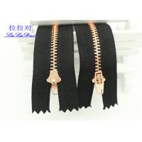 Wholesale Semi Auto Lock Metal Open Ended Zips , Antique Copper Teeth Double Ended Zips For Coats from china suppliers