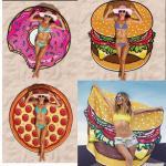 Buy cheap Women Beach Cover Up Pareo Pizza Creative Shape Beach Mat Swimwear Cartoon Cloak mats Summer Saida De Praia from Wholesalers