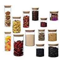 Wholesale Bamboo Lid Glass Storage Bottle , Kitchen Storage Containers Glass Material from china suppliers