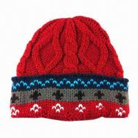 China Knitted Hat, Jacquard Pattern, Made of Acrylic Yarn on sale