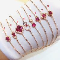 China Red Gemstone Gold Jewelry Real Ruby And Gold Charm Bracelet For Women on sale