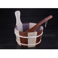 Buy cheap Customized sauna water bucket 26*22*27CM , 39CM Pine handle from Wholesalers