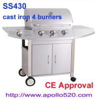 Quality Freestanding 3 Burner Gas Barbecue with side burner for sale