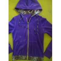 Wholesale Purple Velour Color Block Womens Zip Up Hoodies With Kangaroo Pocket High End from china suppliers